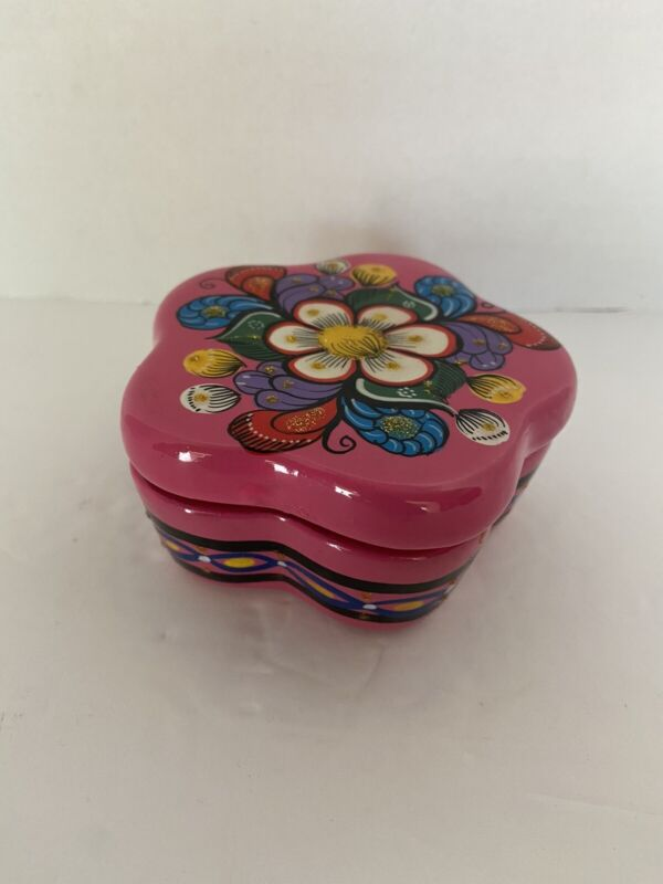 Ensenada BC Mexico Flower Trinket Box With Lid Hand Painted Talavera