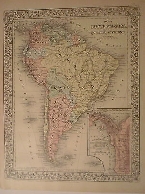 Map of South America with New Granada, Peru, Argentine on Back, 1884, Mitchell