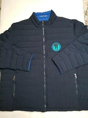 RARE NAUTICA Starwars Men Blue REVERSIBLE PUFFER Jacket Coat Plus Sz 3XT Quilted