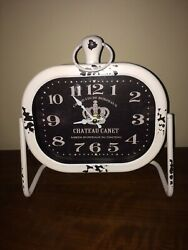 Lovely French Country Chateau Canet White Shelf Desk Quartz Battery Clock