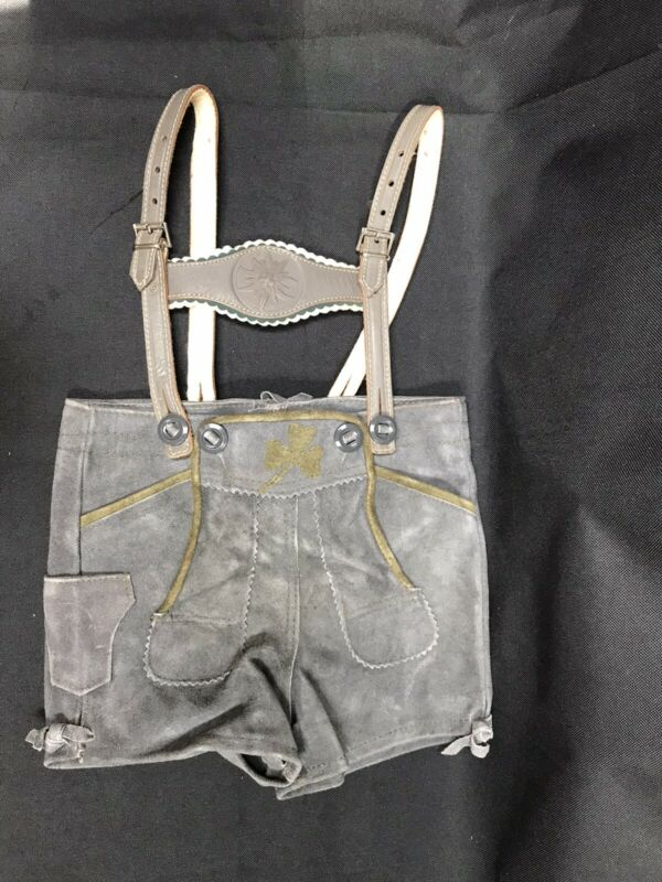 Vintage Gray Suede Leather Lederhosen Oktoberfest Children