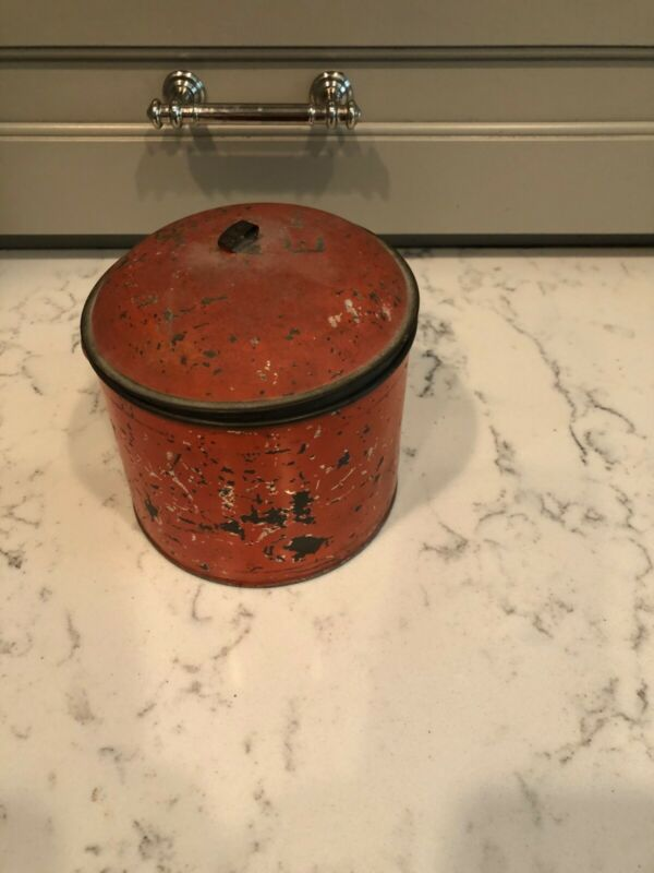 Hand-Painted Red American Toleware Canister