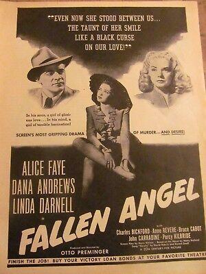 Fallen Angel, Linda Darnell, Alice Faye, Full Page Vintage Promotional Ad
