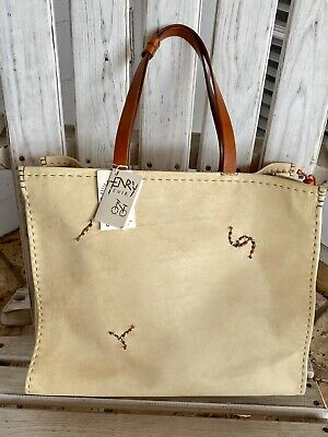 Henry Cuir Beguelin Collector Rare Ecru Vintage Leather Colorful Beaded Tote