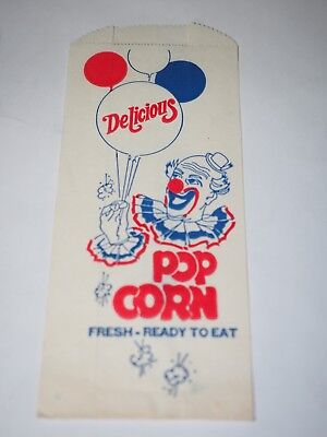 Vintage Circus Popcorn Tasche mit Clown 8.9cm X 21.6cm