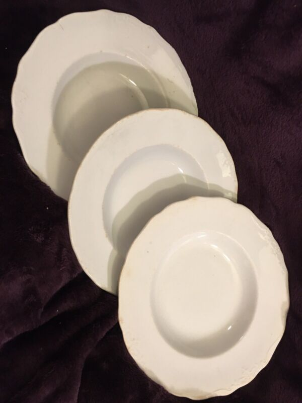 Antique J & G Meakin Ironstone China England Soup Bowls - Lot Of 3