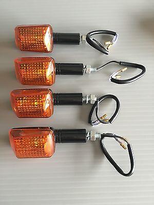 Motorcycle Mini Indicators Black Body Amber Lens Long Stem 2 Pairs