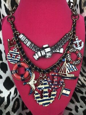 Betsey Johnson Yacht Club Nautical Sailor Sail Boat Anchor Lifesaver Necklace