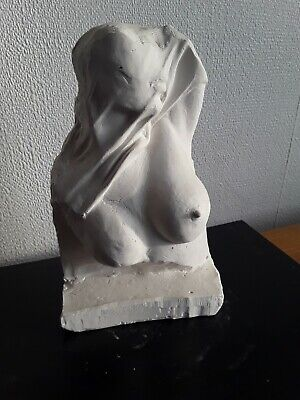Female Nude Torso, 7 in stone cast, natural finish, table display