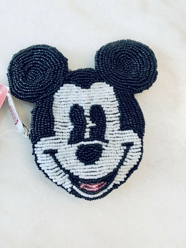 NWT DISNEY'S MICKEY MOUSE Little Zipper Beaded Black & White Coin Change Purse