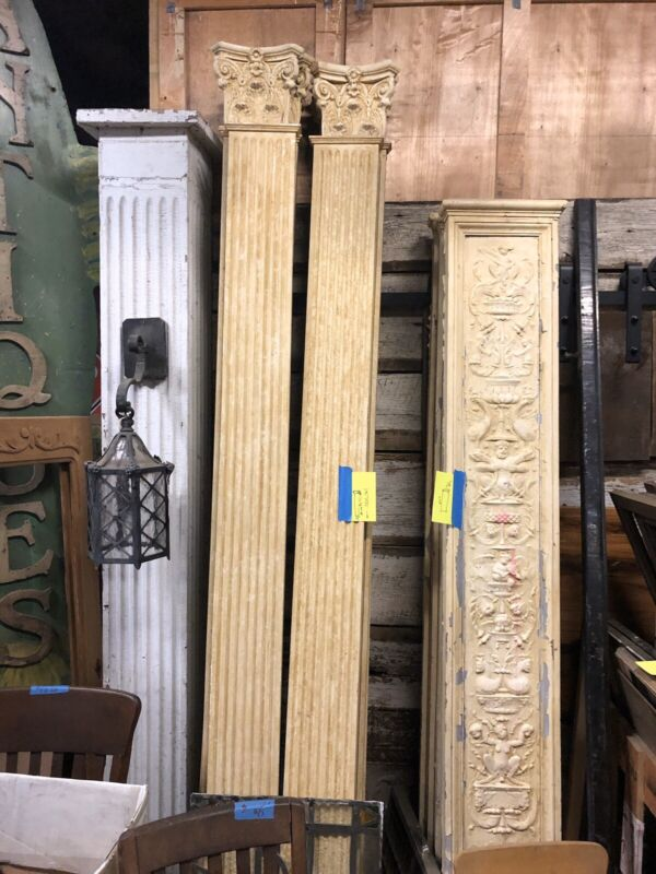 Vintage Flat Column Decorative Fluted Column Pilaster Antique Trim 10 Available