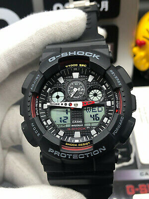 NEW G-Shock Black Resin Strap Chronograph Men's Watch GA100-1A4