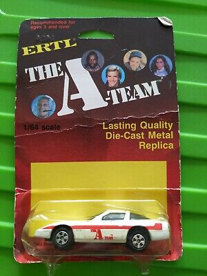 Ertl A-TEAM CORVETTE Diecast Car 1983 White Red FACE Vintage RARE new 1/64