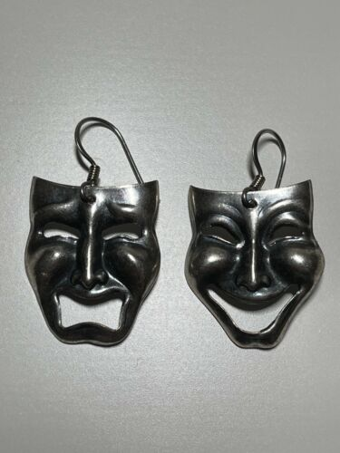 Vintage Sterling Silver Drama Theatre Mask Comedy Tragedy Dangle Earrings