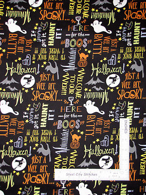 Boo Word For Halloween (Halloween Cat Ghost Words Black Cotton Fabric Wilmington Here For The Boos)