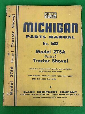 Oem Clark Michigan Model 275a Tractor Shovel Parts Manual No.1688