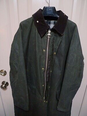 BARBOUR- A160 BURGHLEY WAXED COTTON COAT -SAGE--MADE IN ENGLAND-SIZE 44