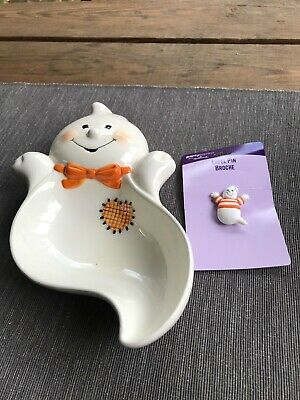 Vintage Hallmark Halloween Friendly Ghost Ceramic Candy Dish and Pin