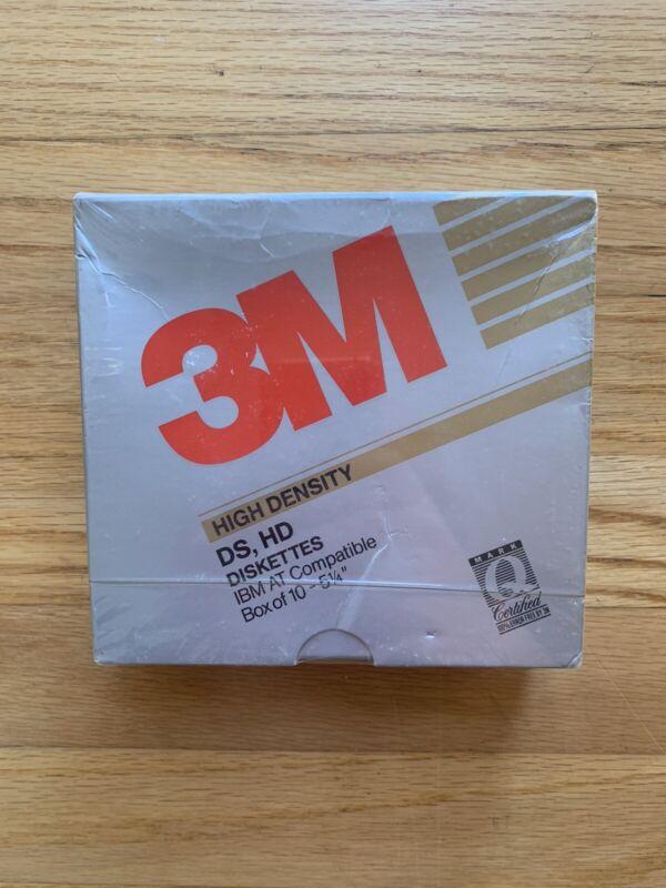 "3M 5 1/4"" 5.25"" HIGH DENSITY DS, HD FLOPPY DISK 10 PACK NEW for IBM COMPUTER '89"