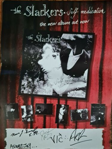 """The SLACKERS promotional SELF MEDICATION LP release 11"""" x 17"""" POSTER 2008 SIGNED"""