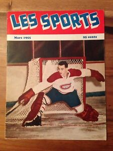 Magazine Les Sports Mars 1955 Jacques Plante Canadiens Mtl 30$