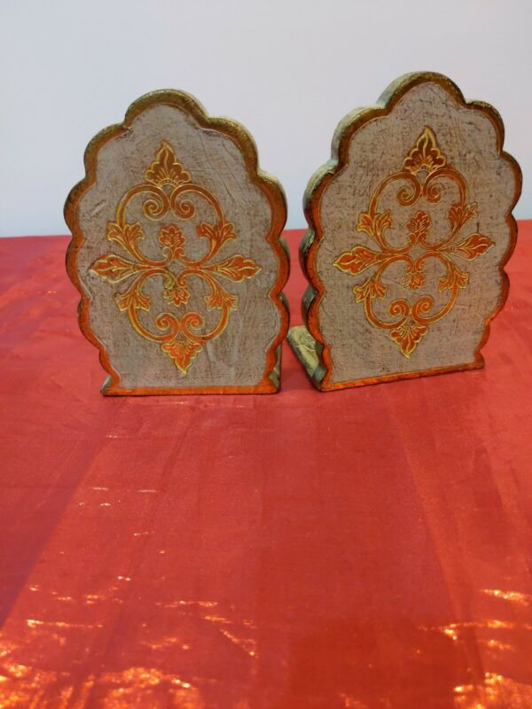Vintage Bookends Made In Italy CF Florentine Gold Faux Gilt Wood Scroll Book End