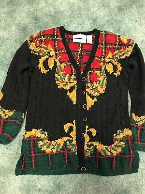 Christmas theme/ugly sweater cardigan black size small beautiful quality](Ugly Sweater Theme)