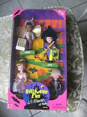 LIL' FRIENDS OF KELLY HALLOWEEN FUN #23776 (c)1998 - 4 dolls - Barbie doll's sis - Kelly Halloween 4