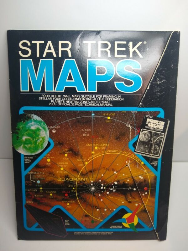 VERY RARE 1980 Star Trek Maps 4 HUGE Maps Federation Planets GREAT FOR FRAMING