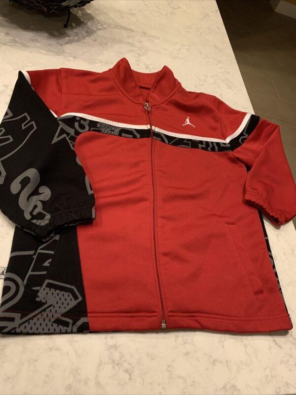 AIR JORDAN - Boys Size M (10/12) - Full Zip Warm Up Track Jacket Black/Red