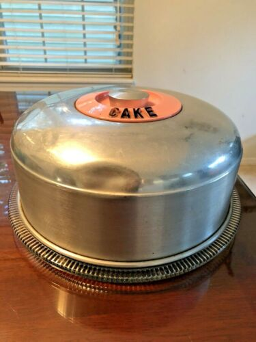 VINTAGE 1950's KROMEX PINK CAKE CARRIER w/ORIGINAL GLASS CAKE PLATE!