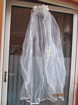 Schleier Brautschleier weiß m. Satinband für Fasching Kostüm Blütenkranz 110 cm
