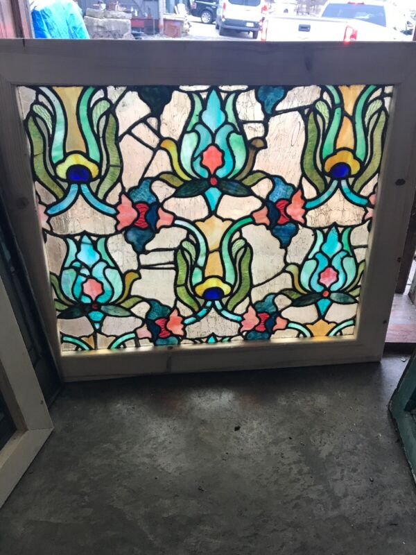 Sg 3091 Gorgeous Floral Chunk Jewel Stained glass window 31 x 26.25H