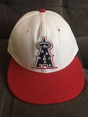 MLB Los Angeles Angels 4TH OF JULY TEAM ISSUED Player Worn Hat Cap Authentic - 7 Angels Authentic Team Cap