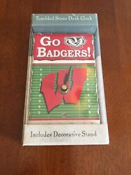 WISCONSIN BADGERS TUMBLED STONE DESK CLOCK