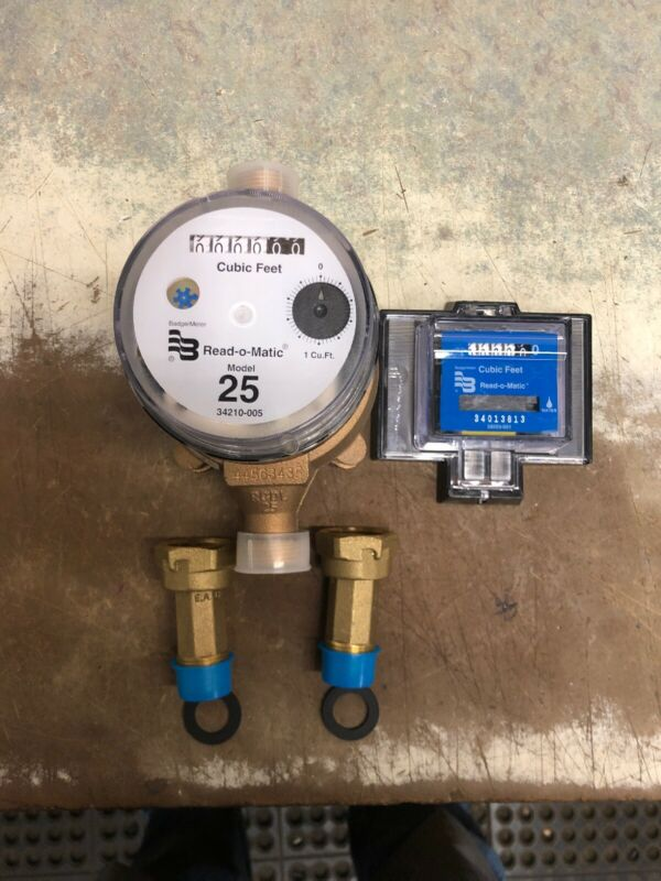 Badger Model 25 Water Meter With Pulse Register And Remote Package. Cubic Feet
