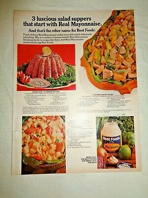 Best Foods Real Mayonnaise PRINT AD Recipes Chicken Chutne Salad Hot Dog Potato