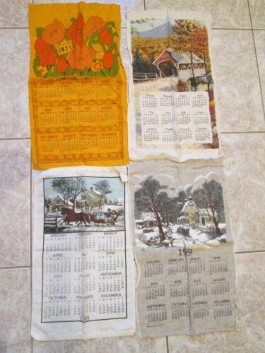 28 Vintage Linen Calendar Towels - Dated 1971 - 1992