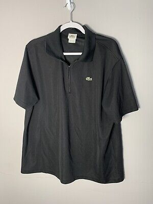 Lacoste Sport Solid Black 1/4 Zip Pullover Short Sleeve Tennis Polo Shirt XL Sz7
