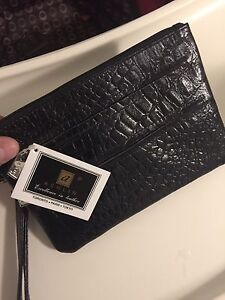 Ashlin black leather clutch purse wristlet