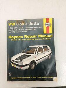 Haynes VW Golf Jetta repair manual 1993 to 1998