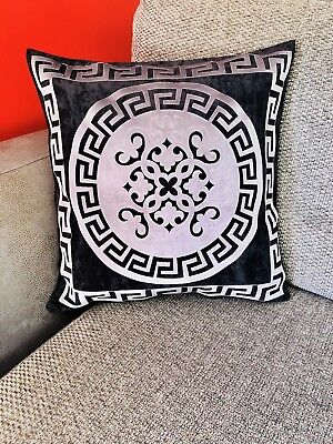 Greek Key/Border baroco BLK & SILVER versace key Decorative Pillow Throw Cover