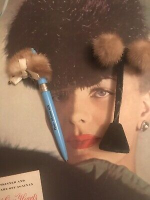 Lot Vintage Advertising FUR Mink Head Rhinestone PEN & Earrings Lady Accessories