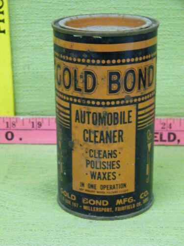 Vintage Gold Bond Automobile Cleaner Tin Can-Cleans, Polishes, and Waxes