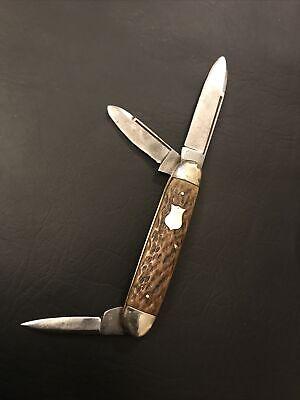 Vintage Finedge Ostiso Knife 3 blade  jigged bone handles Germany Made 1921-1923