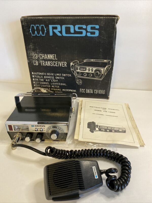 ROSS 23 CHANNEL CB Transceiver RADIO Model CB-1000, Complete in Box, Untested