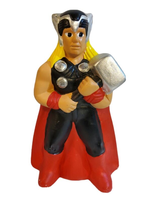 "VTG Thor Figure Statue Piggy Bank Coinbox Marvel Avengers Ceramic Collect 10"""