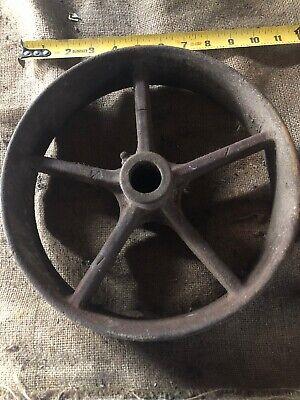Vintage Cast Iron Flat Belt Pulley 10x2 12 Gas Engine Steam Saw Mill Hit Miss