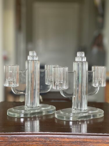 VINTAGE Art Deco Molded Glass Double Candle Holder Set of 2