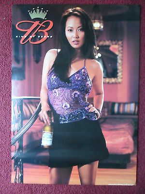 Sexy Girl Beer Poster Bud Budweiser Hot Asian Girl Purple Top